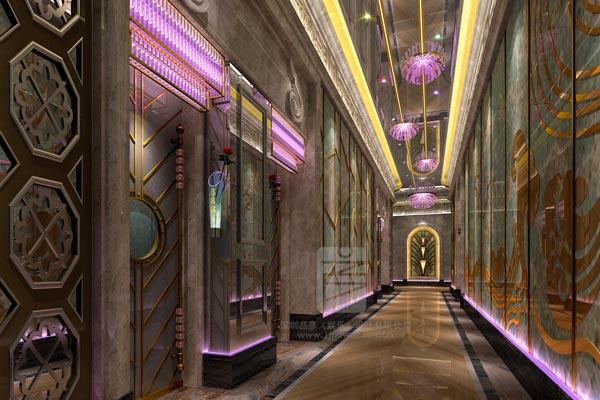 简化线条的欧式古典丝绒沙发与极富时尚现代感的光影紧密相连,走道内